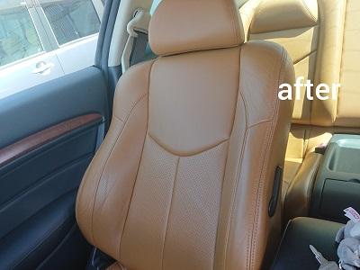 運転席背もたれafter 2 革シートの黒ずみを除去 本来の美しさが戻りました!!