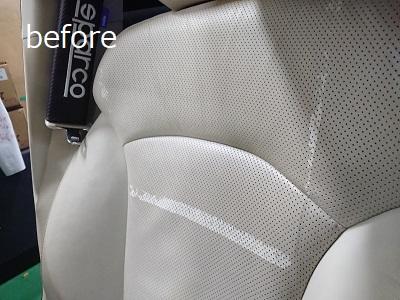 運転席背もたれbefore 2 革シートのハガレ補修(運転席)