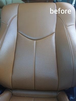 運転席背もたれbefore 4 革シートの黒ずみを除去 本来の美しさが戻りました!!